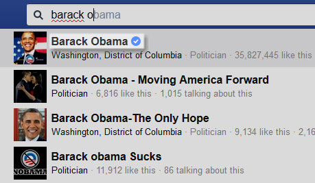 Barack Obama Verified Badge in search results